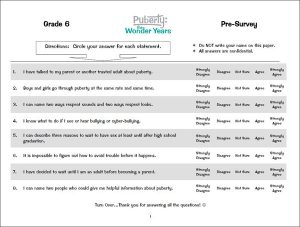 Student assessment surveys puberty curriculum