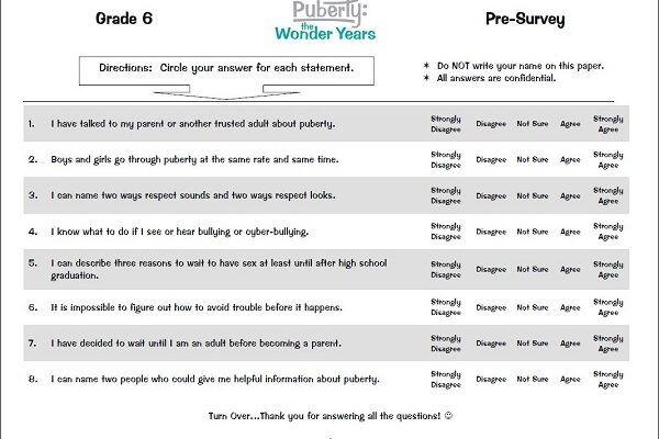 Puberty: The Wonder Years Curriculum for Grades 4, 5, and 6